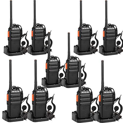 Retevis RT24 Professionele Portofoons met Headset PMR446 Vergunningsvrije Walkie Talkies 16 Kanalen CTCSS/DCS VOX Oplaadbaar Walkie Talkies met EU-stekker Laadstation en Lithium-ionbatterij (10 Stuks, Zwart)