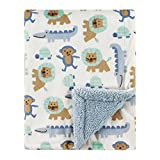 Luvable Friends Unisex Baby Plush Blanket with Sherpa Back, Boy Jungle, One Size