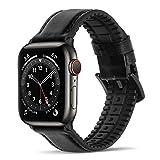 Bisikor para Correa Apple Watch 42mm 44mm Cuero y Silicona Híbrido Correa de Repuesto Compatible con Apple Watch Series 6/5/4/SE (44mm) Serie 3/2/1 (42mm) - Negro