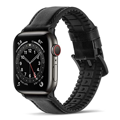 Bisikor para Correa Apple Watch 42mm 44mm Cuero y Silicona Híbrido Correa de Repuesto Compatible con Apple Watch Series 6/5/4/SE (44mm) Serie 3/2/1 (42mm) - Negro