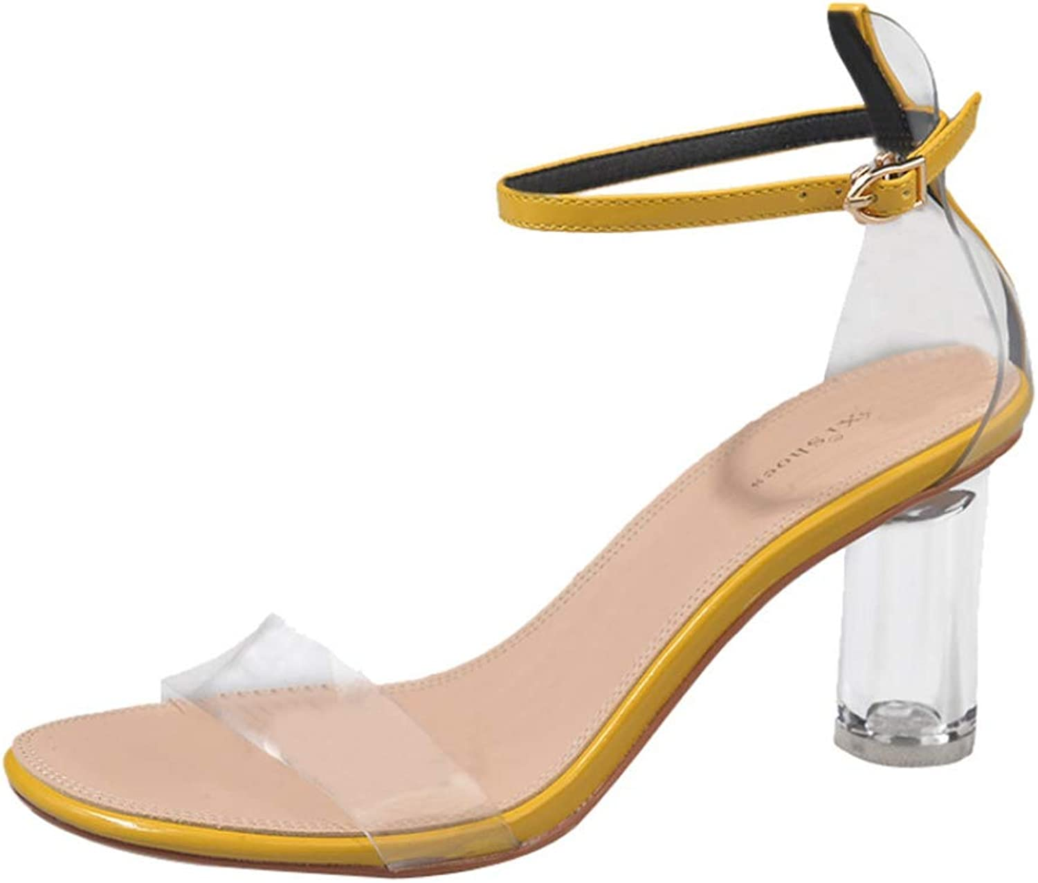 Women's Clear Buckle Strappy Sandals High Transparent Heel Ladies Sexy Summer Fashion Peep Toe shoes