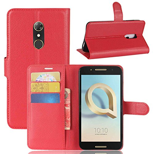 Tasche für Alcatel A7 Hülle, Ycloud PU Kunstleder Ledertasche Flip Cover Wallet Hülle Handyhülle mit Stand Function Credit Card Slots Bookstyle Purse Design rote