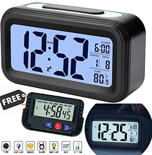 ChillyFit Smart Digital LCD Alarm Clock, Automatic Sensor, Large Back-Light Display, Date & Temperature for Bedroom, Students, Kids, Heavy Sleepers, Office & Home
