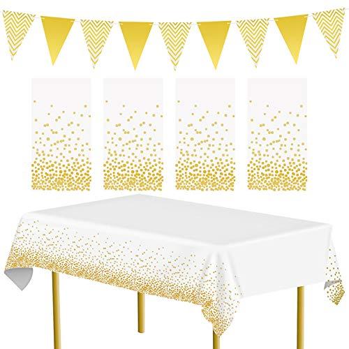 APERIL 4er Pack Gold Party Tischdecke und 1 Dreieck Flagge Partyzubehör Gold Dot Tischdecke Wiederverwendbar Tischdecken Tischdecken für Partys im Innen- oder Außenbereich