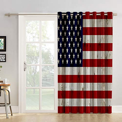 Kitchen Tier Curtains 52 inch Length Vintage American Flag Draperies, Retro Style Patriotic Concept Flag Patterned Chic Window Fabric Panel for Living Room/Bedroom/Sliding & Patio Door