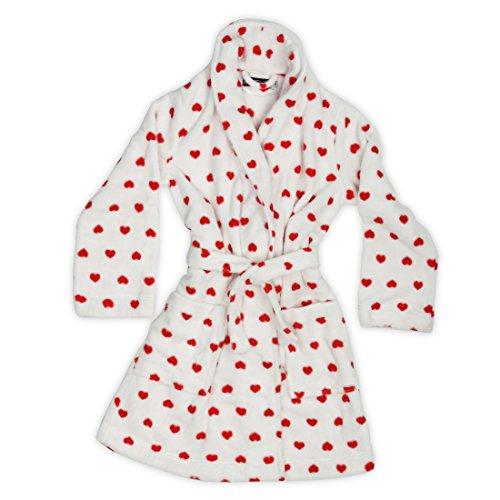 Burrito Blanco Bata de Casa Coralina Mujer Invierno Polar muy Suave Blanca con Estampado de Corazones en Rojo 001, Talla L