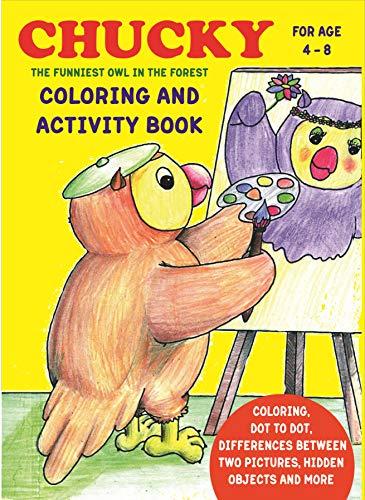 Cahier de coloriage et d'activités Chucky pour enfants de 4 à 8 ans   Livre amusant et éducatif pour la maison ou les voyages - avec des jeux, des énigmes cherche et trouve et plus encore