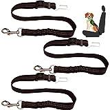 EasyULT Perro Cinturón de Seguridad, 3 Unidades Cinturón Ajustable de Seguridad para Perro con óptimo de Protección, para Todas Las Razas Perros y Gatos-Negro