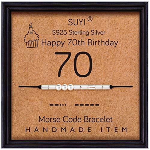 Suyi Morse Code Bracelet 70e Anniversaire Cadeaux pour Grand-mère Bracelet en Argent Sterling Anniversaire Bijoux 70 Ans Cadeaux pour Elle 70