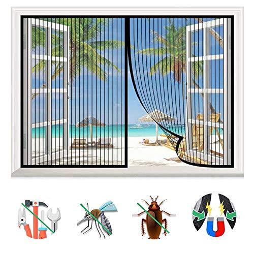 Magnet Fliegengitter Fenster Innen,Magnet Fliegengitter Tür Insektenschutz Balkontür Fliegenvorhang, Ohne Bohren,für meisten Türen Fenster verwendet-Black A||53x78inch(135x200cm)