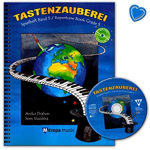 Toetsenbord speelboek band 5 - piano school van Aniko Drabon met CD, online audio en kleurrijke hartvormige muziekklem - Uitgeverij Mitropa Music 2045-15M 9789043145961