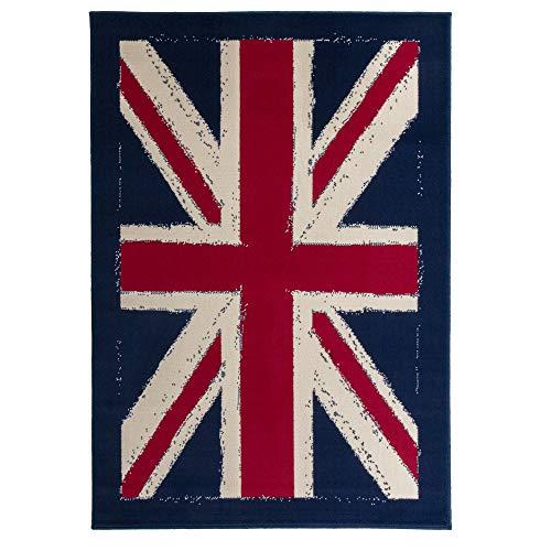 Debonsol - Tapis Salon Classique Drapeau Anglais Union Jack Bleu 120x170cm