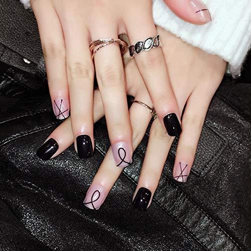 CSCH Faux ongles Clear Beige Mixed Design Nails Deep Blue Artificial Nail Stripe DIY Manucure Accessories