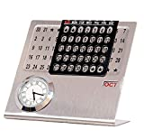 silver shark Table Calendar with Clock for 2021 | Lifetime Calendar | Desktop Calendar with Clock | Table Calender 2021 for Office, Home& Corporate Gift (16cm X 14cm X 5cm)
