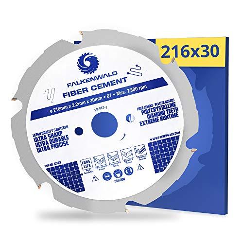 FALKENWALD® Kreissägeblatt 216x30 mm (Fiber Cement) mit 6 Diamantzähnen (PCD) - speziell für Faserzement, Faserzementplatten & Eternit - kompatibel mit Metabo, Bosch & vielen weiteren Marken