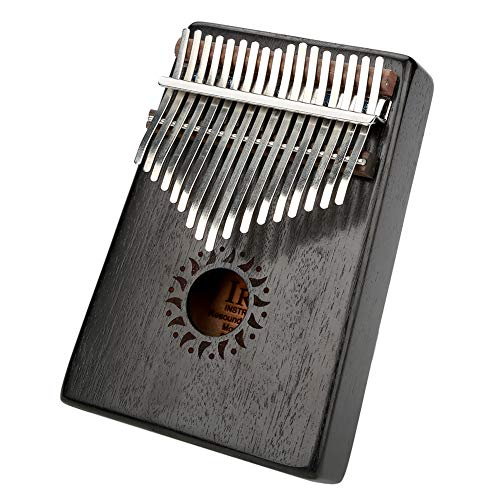 Xinwoer Mahagoni + Metall Daumen Finger Klavier, tragbare hölzerne Kalimba Daumen Finger Klavier 17Key Dekoration Instrument Spielzeug(Schwarz)