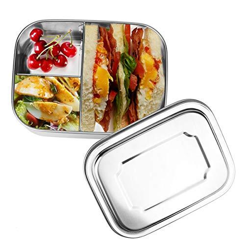 HOSPAOP Edelstahl Brotdose, Lunchbox Edelstahl Auslaufsicher mit 3 Fächern,16 x 13x 6,2 cm, 1000ml, Bento Box Jausenbox für Kinder Erwachsene
