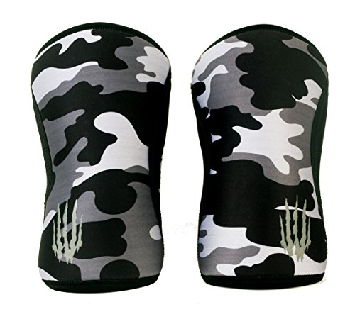 Weightlifting Knee Sleeves (SOLD AS A PAIR of 2) Crossfit, Powerlifting, Squats, Olympic lifting and more. Neoprene Compression sleeves come in 5mm thickness and many colors, BLACK CAMO 5mm LARGE