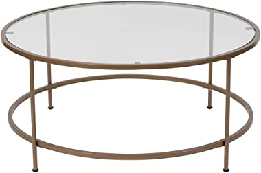 Flash Furniture Astoria Collection Glass Coffee Table with Matte Gold Frame