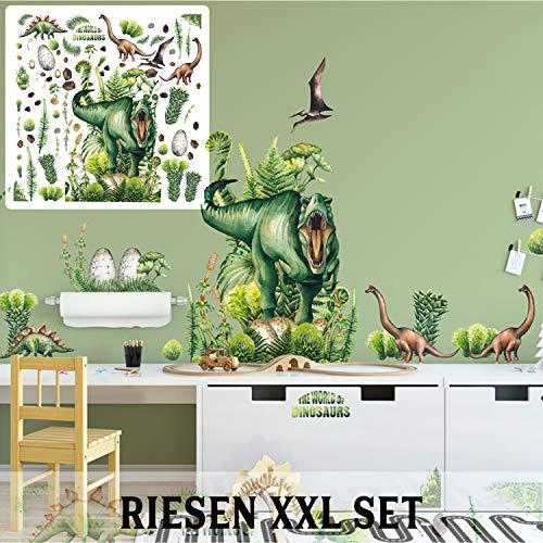 XXL Dinosaurier T-Rex Dino Wandtattoo Set verschiedene Motive| Kinderzimmer Aufkleber bunt Wanddeko The World of Dinosaurs