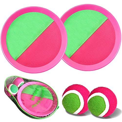 Ball Catch Set Game Toss Paddle - Beach Toys Back Yard Outdoor Games Lawn Backyard Target Throw Catch Sticky Mitts Set Age 3 4 5 6 7 8 9 10 11 12 Years Old Boys Girls Kids Adults Family Easter Gifts