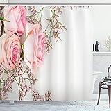 ABAKUHAUS Vintage Rose Duschvorhang, Close up Foto Blumen, Wasser Blickdicht inkl.12 Ringe Langhaltig Bakterie & Schimmel Resistent, 175 x 200 cm, Weiß Rosa