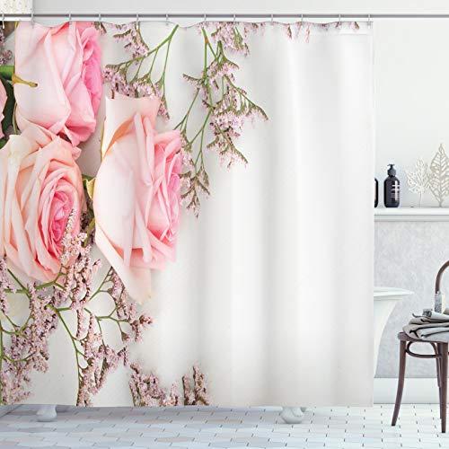 ABAKUHAUS Vintage Rose Duschvorhang, Close up Foto Blumen, Leicht zu pflegener Stoff mit 12 Haken Wasserdicht Farbfest Bakterie Resistent, 175x200 cm, Pale Rose Weiß