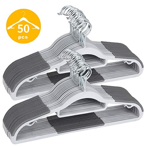 TIMMY Plastic Hangers 50 Pack Heavy Duty Dry Wet Clothes Hangers with Non-Slip Pads Space Saving 0.2' Thickness Super Lightweight Organizer
