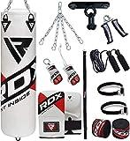 RDX Sac de Frappe Rempli Lourd Punching Ball MMA Muay Thai Kickboxing Arts Martiaux Gants Boxe Chaine Suspension Plafond Punching Bag, 13PC, 4ft 5ft