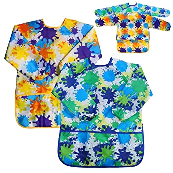 Kids Art Smock Painting Apron -  Pack of 2  Long Sleeve and 2 Pockets for Baking Eating Arts & Crafts for Children Ages 2-8 - Waterproof Artist Paint Shirt Colorful