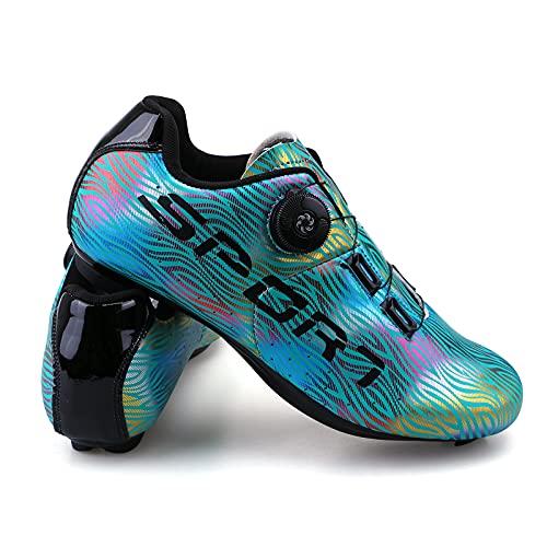 Femenino Zapatillas de Ciclismo Luminiscente Zapatillas de Bicicleta de Carretera de Parejas Moda Antideslizantes Transpirables de Carretera con Hebilla de Giro Rápido y Caja de Zapatos Azul 40
