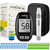 Medidor de glucosa en sangre, kit medidor azucar en sangre con codefree tiras de prueba de glucosa en sangre 50, recordatorios de prueba y 900 memorias por VivaChek Ino glucometro - mg/dL