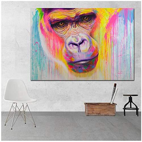 zxianc Druck auf Leinwand Graffiti Street Art Bunte Gorilla-Wandbilder für Wohnzimmer Leinwand Malerei Wandkunst Druck Poster Home Decoration 70 x 100 cm (27,5