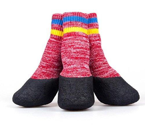 WYXIN Herbst und Winter Terry Dicke Warme Wasserdichte Haustier Socken rutschfeste Anti-schmutzigen Hund Schuhe Baumwolle Outdoor Schuhe , 3# , red