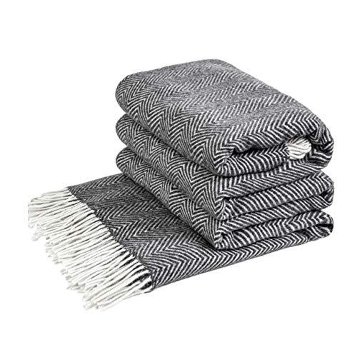 LoveYouHome Ecken Wolle Merinowolle Decke-Kuscheldecke Extra groß Uberwurf Merino (140 cm X 200 cm - Grau)
