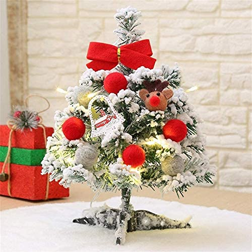 15' Prelit Tabletop Mini Christmas Tree, Snow Flocked Artificial Christmas Tree with Ornaments & Warm White String Lights for Christmas Table Decor, Red Christmas Tree for Indoor Outdoor Decoration