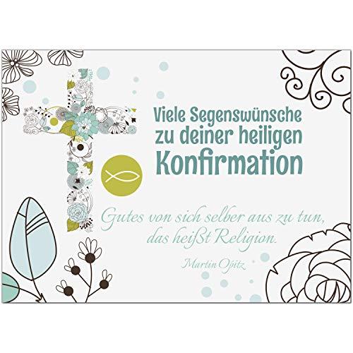 Glückwunschkarte Konfirmation mit Umschlag/Modern grafisch mit Text/Konfirmationskarten/Karte für Glückwünsche/Feier