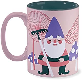 Wild Eye Large Ceramic Novelty Funny Cute Cool Tea Coffee Mug 16 Ounce For Men For Women (Pink Garden Gnome)