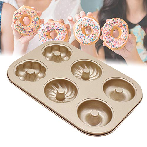 Donut Pan Nonstick 6 Cavity Donut Mold Doughnut Baking Pan for Full-Sized Donuts Biscuit Bagels, Carbon Steel Baking Tray Dishwasher Safe, Oven, Freezer Safe Cake Pan