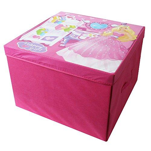 TE-Trend Faltbare Spielbox Spieltruhe Ordnungsbox Aufbewahrung Deckel Spieldecke Puppenstube Kinder Mädchen Utensilien Baby Pink Rosa Mehrfarbig