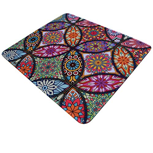 Gaming Mouse Pad Colorful Flower Mandala Design Mousepad with Stitched Edge Ergonomic Non-Slip Rubber Base Mouse Mat for Computer Laptop 9.8×11.8inches