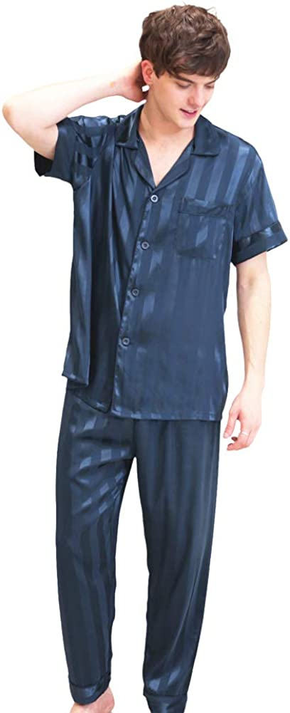 COSOSA Men's Satin Pajama Set Summer Button-Down Short Sleeve Sleepwear