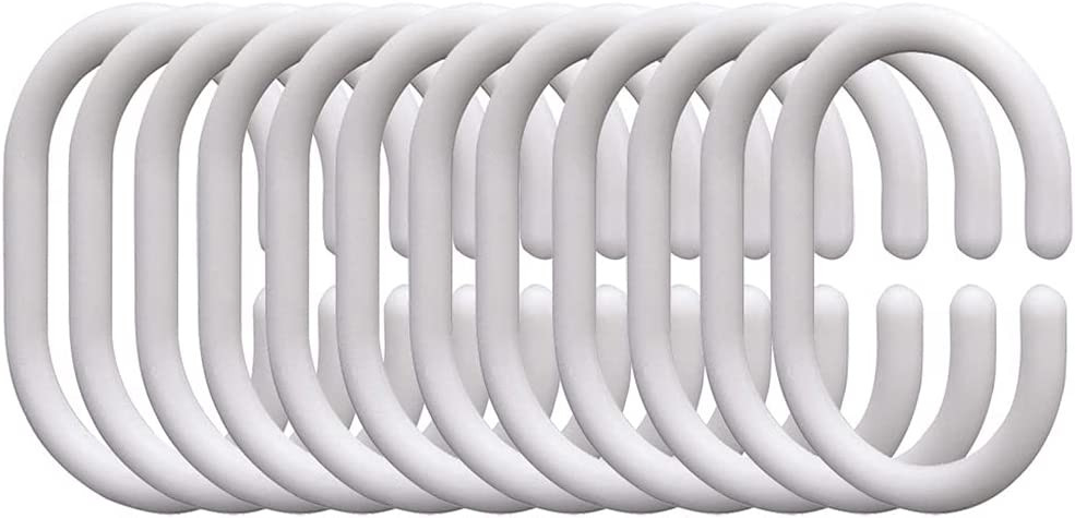 SSMDYLYM Large special price Shower Curtain Rings White Set 12 price Silicone Ho Rubber of