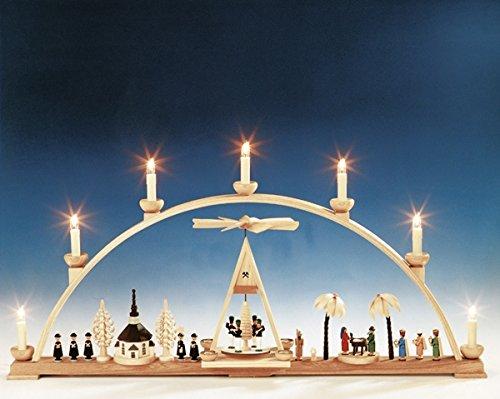 Rudolphs Schatkist Schwibbogen met kerstmotief - elektrisch verlicht - Lichtboog - Boogvormige - Hout Natuur - Breedte 78 cm - Ertsgebergte - Zeep