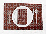 S4Sassy Red Wollemi Pine Leaves Washable Placemats & Napkins Table Decor Dining Mats