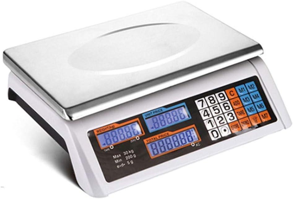 Báscula electrónica digital de plataforma de cálculo de precios, 30 KG KG Básculas de productos con pantalla LCD retroiluminada, Básculas de pesaje industrial para frutas y verduras (tamaño: 30 KG)