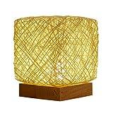 EnShiShiDaNingZiShangMaoYouXianGon - Lámpara de mesa USB para mesita de noche, diseño de ratán, color beige