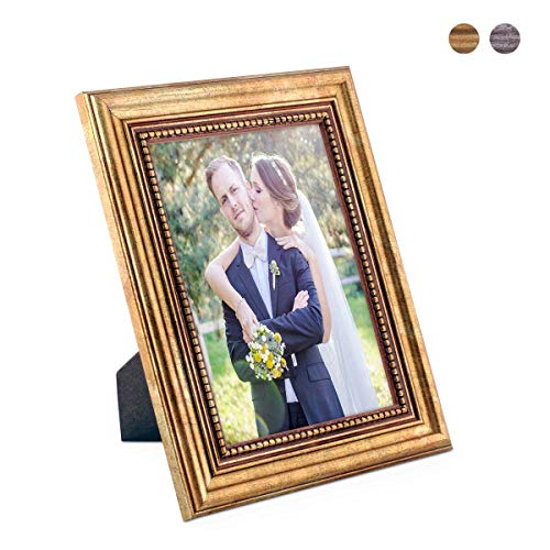 PHOTOLINI Bilderrahmen 15x20 cm Gold Barock Antik Massivholz mit Glasscheibe und Zubehör/Fotorahmen/Barock-Rahmen