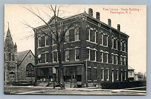 FLEMINGTON NJ FREE LIBRARY DEALS BUILDING ANTIQUE POSTCARD