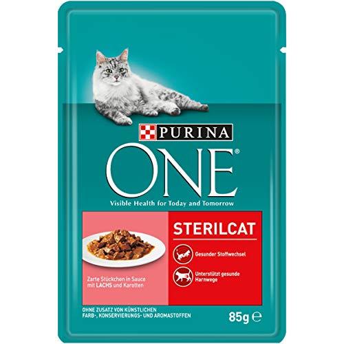 PURINA ONE STERILCAT Katzenfutter nass, zarte Stückchen in Sauce für sterilisierte Katzen, mit Lachs, 24er Pack (24 x 85g)